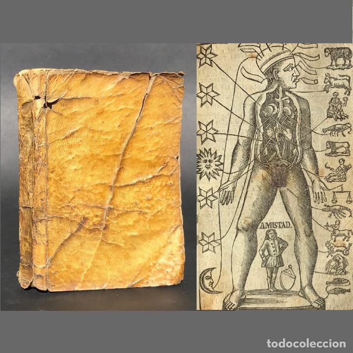 RARO - LUNARIO - MAGIA Y ASTROLOGIA - PERGAMINO - SISTEMA GEOCÉNTRICO - MEDICINA - ¡ORIGINAL! (Libros Antiguos, Raros y Curiosos - Parapsicología y Esoterismo)