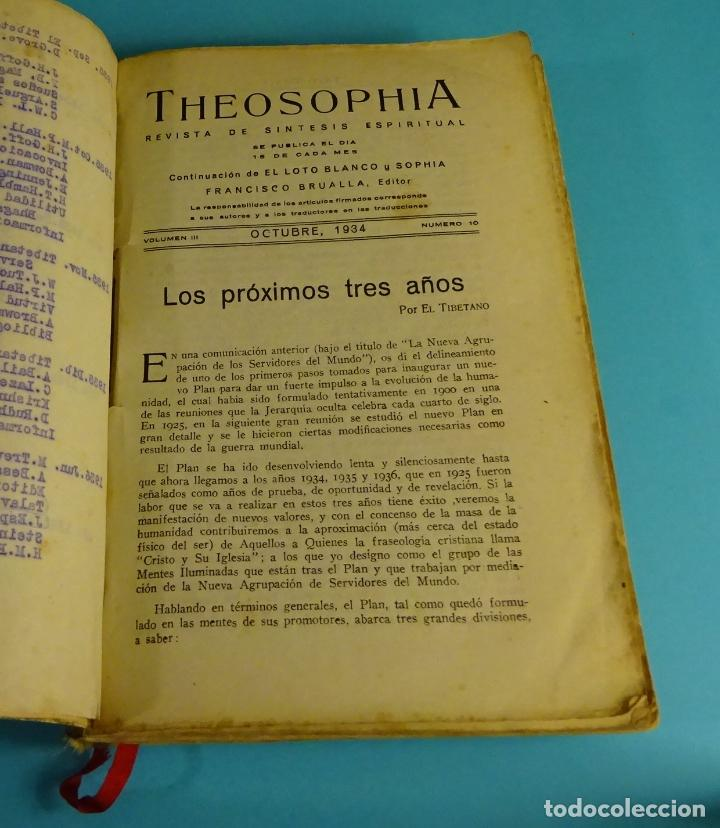 THEOSOPHIA. REVISTA DE SÍNTESIS ESPIRITUAL. AÑO 1934 Nº 10 - 1935 2, 7, 8, 9, 10, 11, 12 - 1936 Nº 6 (Libros Antiguos, Raros y Curiosos - Parapsicología y Esoterismo)