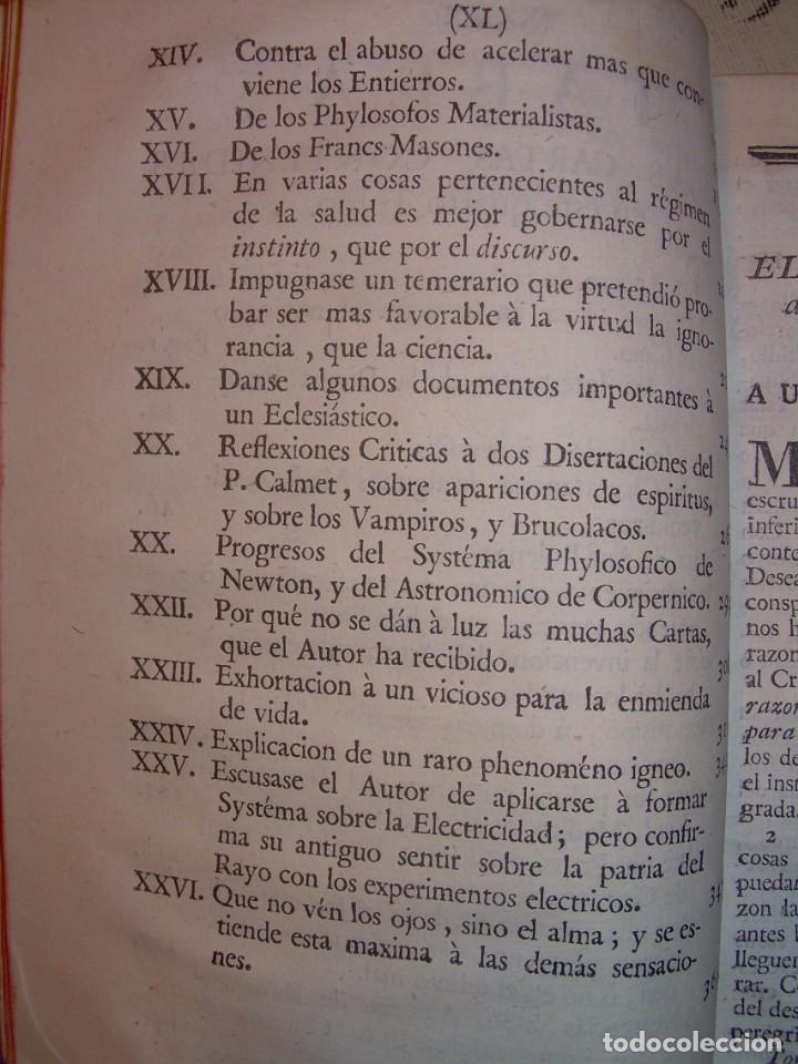 Libros antiguos: LIBRO TAPAS DE PIEL.....AÑO 1.774...BENITO FEYJOO.....VAMPIRISMO, MASONERIA,. ETC. - Foto 24 - 50944368