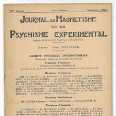 Libros antiguos: JOURNAL DU MAGNETISME ET DU PSYCHISME EXPERIMENTAL. NOVEMBRE 1926. Lote 206808113