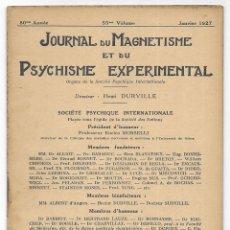 Libros antiguos: JOURNAL DU MAGNETISME ET DU PSYCHISME EXPERIMENTAL. JANVIER 1927. Lote 206808477
