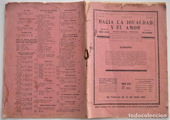 Libros antiguos: HACIA LA IGUALDAD Y EL AMOR, REVISTA MENSUAL ESPIRITISTA Nº 62 - FEBRERO 1926 - Foto 2 - 206812131