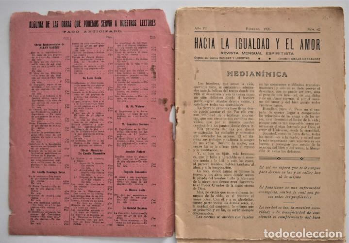 Libros antiguos: HACIA LA IGUALDAD Y EL AMOR, REVISTA MENSUAL ESPIRITISTA Nº 62 - FEBRERO 1926 - Foto 3 - 206812131