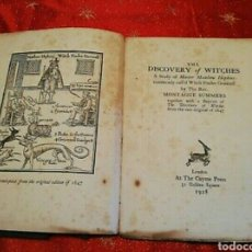 Libros antiguos: MONTAGUE SUMMERS THE DISCOVERY OF WITCHES 1928 WITCHCRAFT BRUJERÍA BRUJAS DEMONOLOGÍA MUY RARO. Lote 212710198