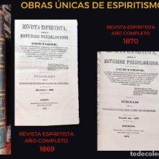 Libros antiguos: REVISTA ESPIRITISTA - 2 AÑOS COMPLETOS 1869 - 1870 - PRIMEROS NÚMEROS. Lote 215039191
