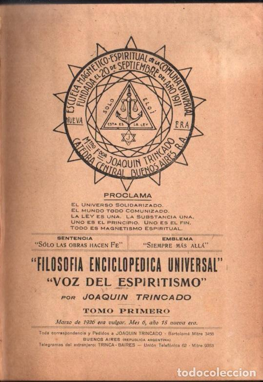 JOAQUIN TRINCADO : VOZ DEL ESPIRITISMO TOMO I (1926) (Libros Antiguos, Raros y Curiosos - Parapsicología y Esoterismo)