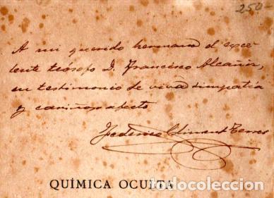 Libros antiguos: BESANT Y LEADBEATER , QUÍMICA OCULTA (MAYNADÉ, 1920) DEDICATORIA DEL TRADUCTOR CLIMENT TERRER - Foto 3 - 225027905