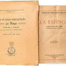 Libros antiguos: ROSO DE LUNA. 2 OBRAS : POR EL REINO ENCANTADO DE MAYA + LA ESFINGE. (ESOTERISMO. 1924. Lote 228905865