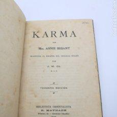 Libros antiguos: KARMA 1918 ANNIE BESANT AÑO 1918 TERCERA EDICIÓN. Lote 235510830
