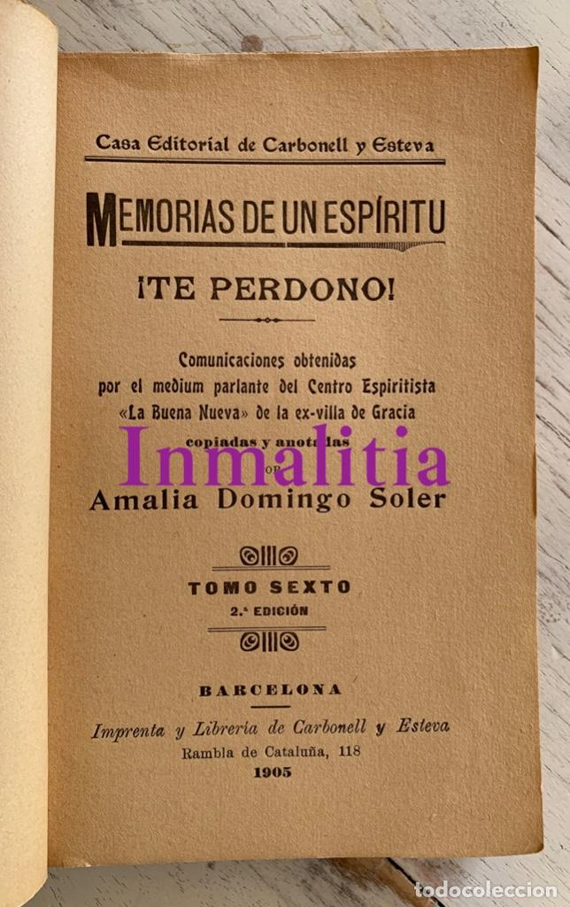 """Libros antiguos: 8 TOMOS MEMORIAS DE UN ESPÍRITU ¡TE PERDONO! Amalia Domingo Soler. Espiritismo. """"La Buena Nueva"""". - Foto 15 - 247998090"""