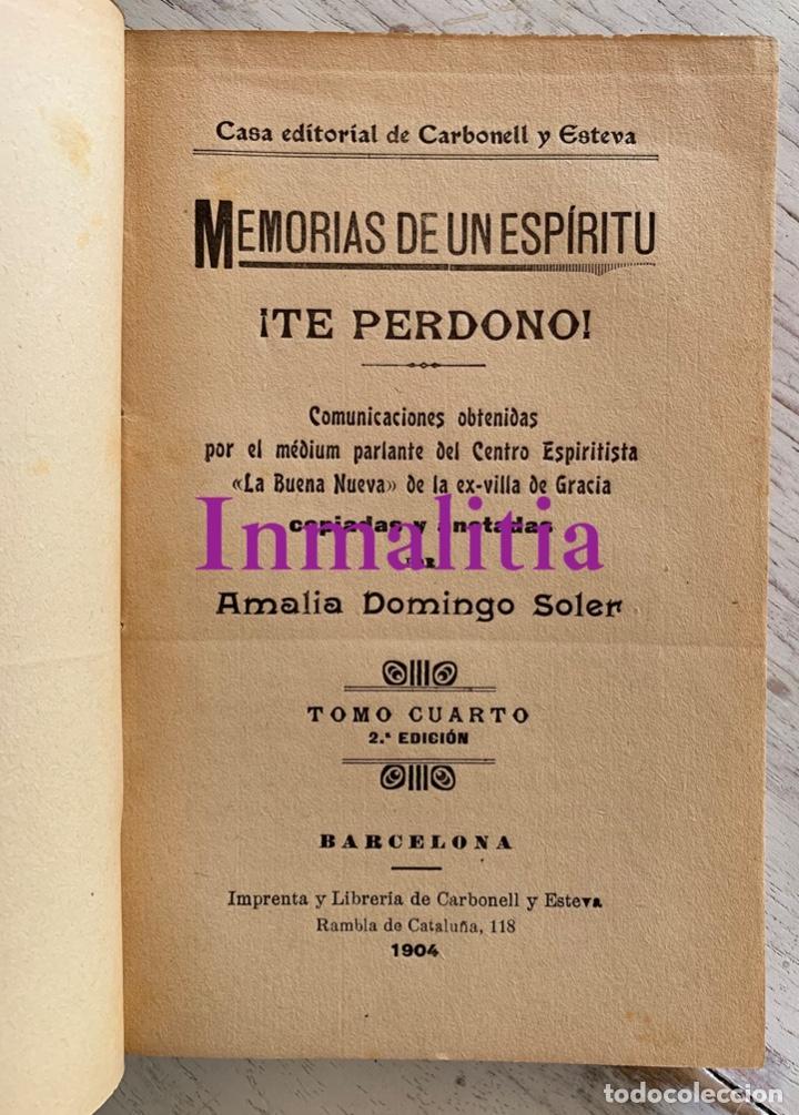 """Libros antiguos: 8 TOMOS MEMORIAS DE UN ESPÍRITU ¡TE PERDONO! Amalia Domingo Soler. Espiritismo. """"La Buena Nueva"""". - Foto 22 - 247998090"""