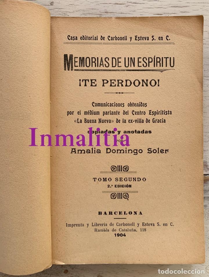 """Libros antiguos: 8 TOMOS MEMORIAS DE UN ESPÍRITU ¡TE PERDONO! Amalia Domingo Soler. Espiritismo. """"La Buena Nueva"""". - Foto 32 - 247998090"""