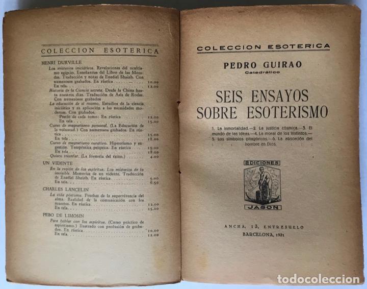 Libros antiguos: SEIS ENSAYOS SOBRE ESOTERISMO. - GUIRAO, Pedro. - Foto 2 - 123199059
