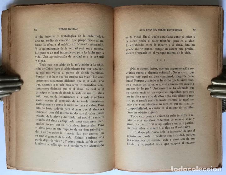 Libros antiguos: SEIS ENSAYOS SOBRE ESOTERISMO. - GUIRAO, Pedro. - Foto 3 - 123199059