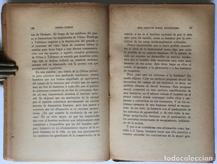 Libros antiguos: SEIS ENSAYOS SOBRE ESOTERISMO. - GUIRAO, Pedro. - Foto 4 - 123199059