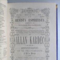 Libros antiguos: REVISTA ESPIRITISTA - 1875 - AÑO COMPLETO - 12 NUMEROS - KARDEC - ESPIRITISMO. Lote 265116329