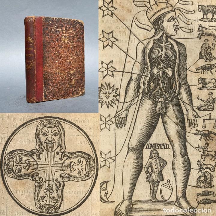 1855 - LUNARIO - MAGIA Y ASTROLOGIA - HOROSCOPO - SISTEMA GEOCÉNTRICO - MEDICINA - GRABADOS (Libros Antiguos, Raros y Curiosos - Parapsicología y Esoterismo)