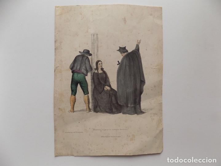 LIBRERIA GHOTICA. SANTA INQUISICIÓN. GRABADO ILUMINADO A MANO. 1850. (Libros Antiguos, Raros y Curiosos - Parapsicología y Esoterismo)