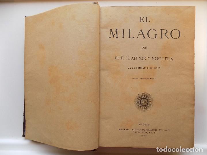 Libros antiguos: LIBRERIA GHOTICA. LUJOSA EDICIÓN EN PIEL DEL TRATADO SOBRE LOS MILAGROS DE JUAN MIR.1895. FOLIO. - Foto 5 - 275606013