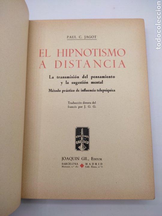 Libros antiguos: Hipnotismo a distancia año 1935 - Foto 2 - 275670568