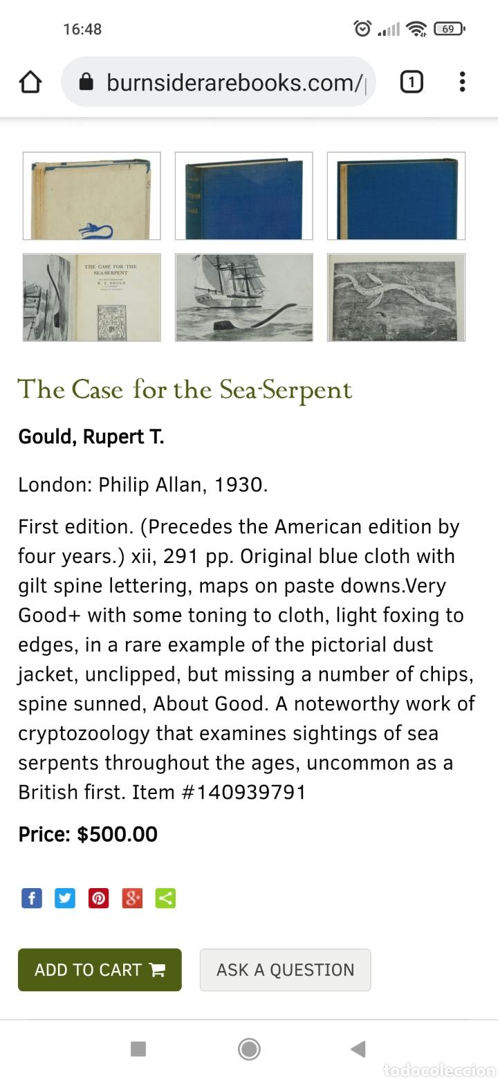 Libros antiguos: R. Gould The case for the sea serpent 1930 criptozoología enigmas misterios mar océano - Foto 16 - 286014443
