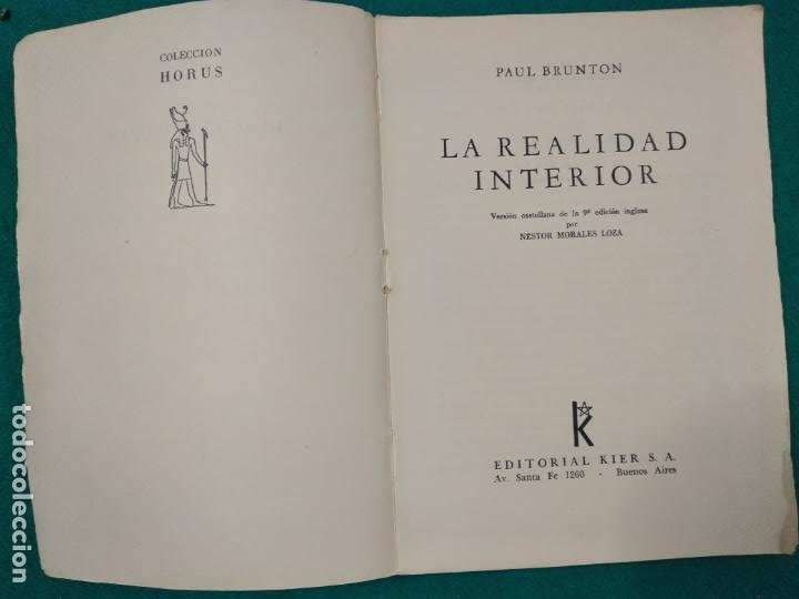 Libros antiguos: PAUL BRUNTON. LA REALIDAD INTERIOR. KIER 1966. - Foto 3 - 288141463