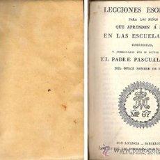 Libros antiguos: LECCIONES ESCOGIDAS – AÑO 1828. Lote 27202210