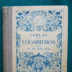 Libros antiguos: TABLAS DE LOGARITMOS CON 6 DECIMALES, DESDE 1 HASTA 22.000 - G. M. BRUÑO - AÑOS 1920 ? -EDICION RARA. Lote 31170097