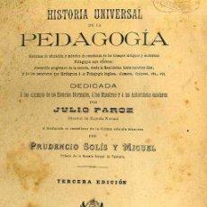 Libros antiguos: JULIO PAROZ : HISTORIA UNIVERSAL DE LA PEDAGOGÍA (GERONA, 1889). Lote 34724107