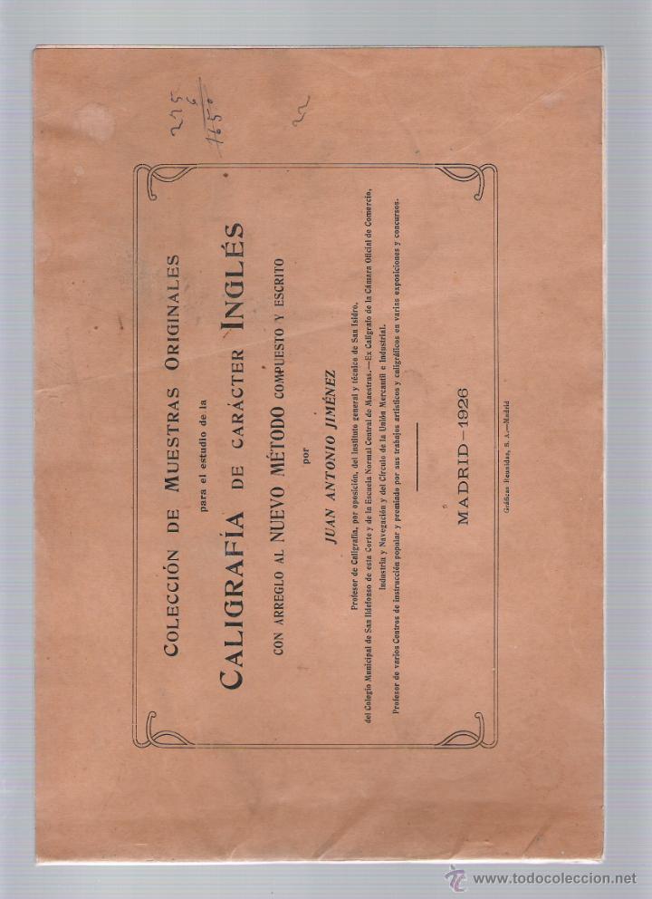 COLECCIÓN DE MUESTRAS ORIGINALES PARA EL ESTUDIO DE LA CALIGRAFÍA DE CARÁCTER INGLÉS - J. A. JIMÉNEZ (Libros Antiguos, Raros y Curiosos - Ciencias, Manuales y Oficios - Pedagogía)