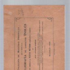Libros antiguos: COLECCIÓN DE MUESTRAS ORIGINALES PARA EL ESTUDIO DE LA CALIGRAFÍA DE CARÁCTER INGLÉS - J. A. JIMÉNEZ. Lote 39514003