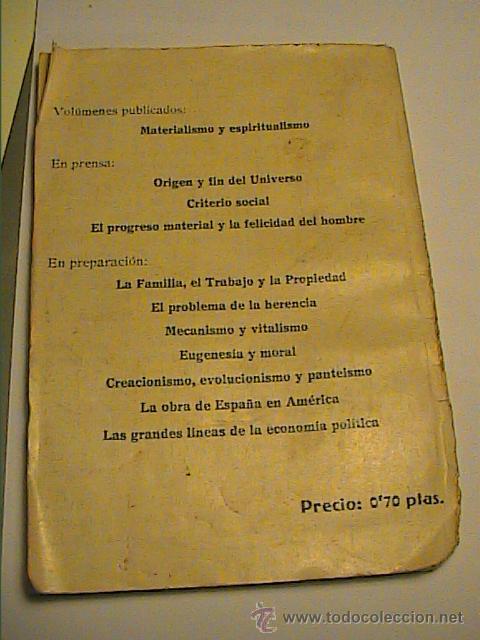 Libros antiguos: MATERIALISMO Y ESPIRITUALISMO. ARTURO FOSAR BAYARRI. 1933. BARCELONA.II REPÚBLICA ESPAÑOLA. - Foto 3 - 41534346