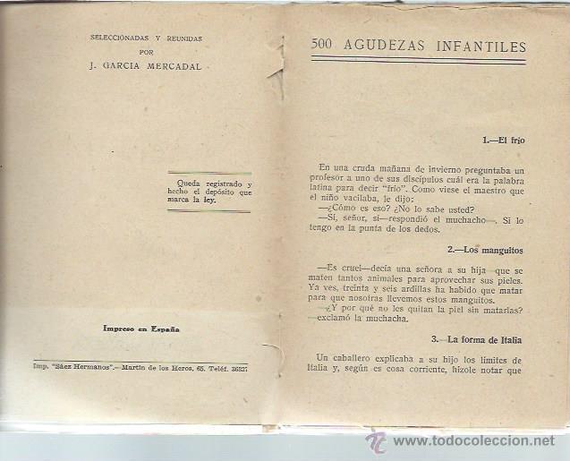 Libros antiguos: 500 AGUDEZAS INFANTILES, POR GARCÍA MERCADAL, EDS. IBÉRICAS MADRID 165 PÁGS, RÚSTICA, 12X17CM - Foto 3 - 43778832