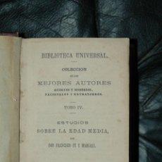 Libros antiguos: NOVELAS VARIAS, ESTUDIOS SOBRE LA EDAD MEDIA PI Y MARGAL 1873, LA REJA SALVADOR RUEDA, RELATOS BREV. Lote 46959874