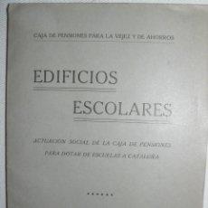 Libros antiguos: EDIFICIOS ESCOLARES BARCELONA ACTUACIÓN SOCIAL DE LA CAJA DE PENSIONES 1918 PLANOS DESPLEGABLES. Lote 48664690