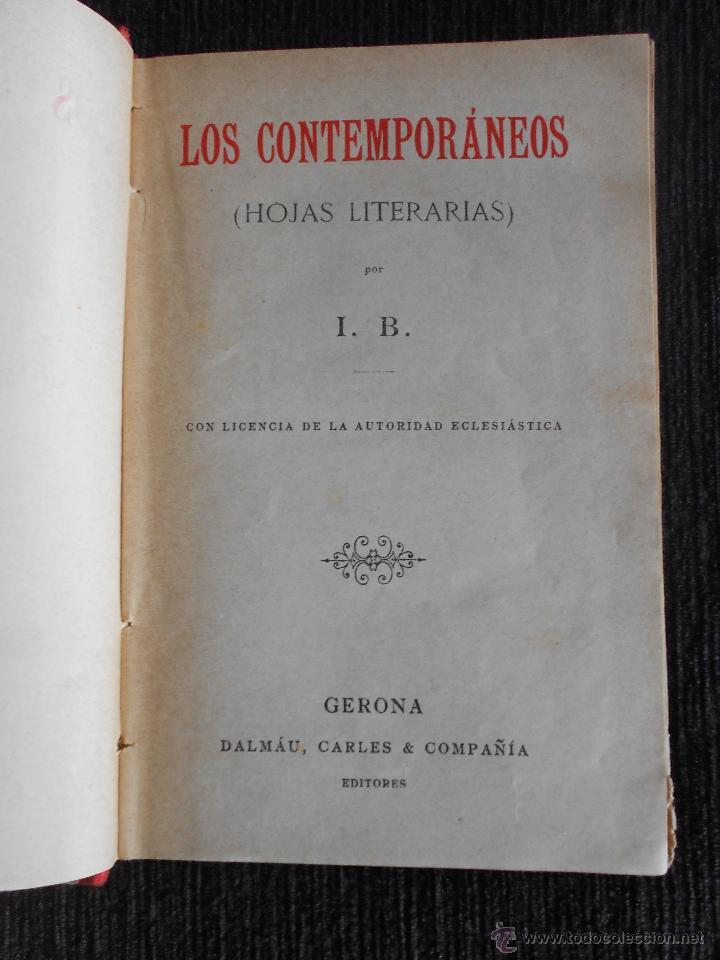 Libros antiguos: Los contemporáneos (Hojas literarias) Por I.B. Dalmau, Carles & compañía Editores. Gerona - Foto 4 - 50559335