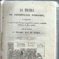 Libros antiguos: LA ESCUELA DE INSTRUCCIÓN PRIMARIA, RICARDO DIAZ DE RUEDA, VALLADOLID IMP.JUAN DE LA CUESTA 1860. Lote 51412222