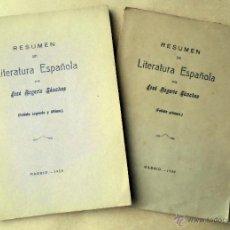Libros antiguos: RESUMEN DE LITERATURA ESPAÑOLA - SÁNCHEZ, JOSÉ ROGERIO.2 FOLLETOS. Lote 51784234