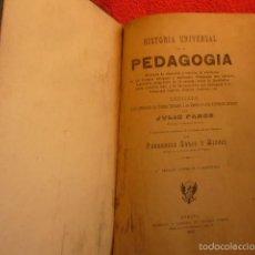 Libros antiguos: JULIO PAROZ: - HISTORIA UNIVERSAL DE LA PEDAGOGIA - (GERONA, 1915). Lote 57850372