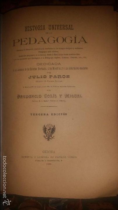 HISTORIA UNIVERSAL DE LA PEDAGOGÍA. SOLÍS Y MIGUEL. 1889. (Libros Antiguos, Raros y Curiosos - Ciencias, Manuales y Oficios - Pedagogía)