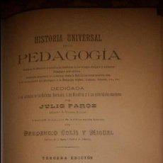 Libros antiguos: HISTORIA UNIVERSAL DE LA PEDAGOGÍA. SOLÍS Y MIGUEL. 1889.. Lote 58246270