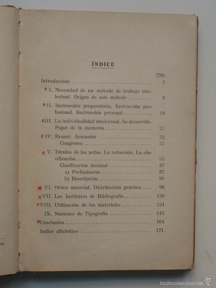 Libros antiguos: ORGANIZACIÓN DEL TRABAJO INTELECTUAL - P. CHAVIGNY - COLECCIÓN LABOR AÑO 1936 - 2ª EDICIÓN - Foto 5 - 58553285