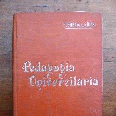Libros antiguos: GINER DE LOS RÍOS, FRANCISCO. PEDAGOGÍA UNIVERSITARIA : PROBLEMAS Y NOTICIAS. (MANUALES SOLER ; 58). Lote 59569279