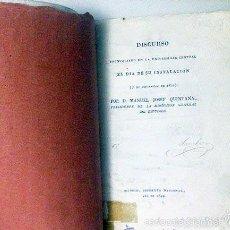 Libros antiguos: M. J. QUINTANA. DISCURSO PRONUNCIADO EN LA UNIVERSIDAD CENTRAL 1822. 1ª EDICIÓN.. Lote 59946791