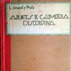 Libros antiguos: CRUSAT Y PRATS : APUNTES DE GEOMETRÍA DESCRIPTIVA I. RECTAS Y PLANOS. POLIEDROS. 1932. 2ª REPÚBLICA. Lote 60638879