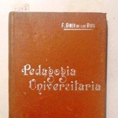 Libros antiguos: PEDAGOGIA UNIVERSITARIA MANUALES SOLER LVIII. Lote 64912843