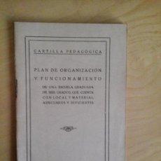 Libros antiguos: PLAN DE ORGANIZACIÓN Y FUNCIONAMIENTO. CARTILLA PEDAGÓGICA. EL MAGISTERIO ESPAÑOL.. Lote 68401029