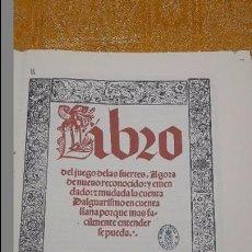 Libros antiguos: LIBRO DEL JUEGO DE LAS SUERTES.(FACSIMIL)SIN ENCUADERNACION.. Lote 105673756