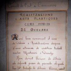 Libros antiguos: LIBRO MANUSCRITO PEDAGOGIA MONTESSORI - AÑO 1938-39 - GUERRA CIVIL.. Lote 80868903