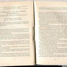 Libros antiguos: LLIBRE PEDAGOGIA ANY 1915 GALTON EL METODE METODO MONTESSORI CURS INTERNACIONAL A BARCELONA . Lote 140334702